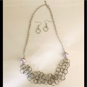 Necklace/earrings layered set silver with pearl